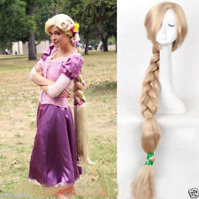 100cm Tangled Rapunzel wig Long Blonde Handcraft Braid Cosplay wig Women