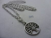 """A Round Tree of Life Tibetan Silver Charm Pendant, Long ( 30"""" ) Chain Necklace"""