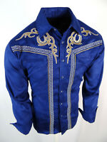 Mens Western Rodeo Shirt Blue Full Suede Faux Stretch Embroidered Cowboy Snap Up