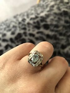 Antique Aquamarine & Diamond 9ct Ring