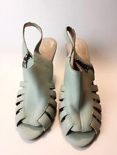 COLONIAL MADNESS Anthropologie Leather Wedge Open Toe Zip Up Shoes Size 10