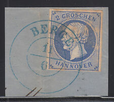 Hanover Mi 15 used 2gr ultra King George V imperf on small cover fragment