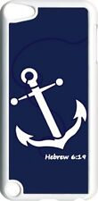 Navy Blue Faith Anchor with Hebrew 6:19 on iPod Touch 5th Gen 5G White TPU Case