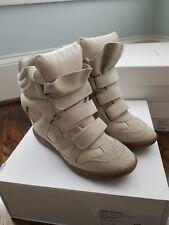 Isabel Marant Suede Concealed Wedge Sneaker, Hook & Loop Closure, Beige Sz EUR39