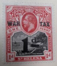 1919 St Helena 1d+1d Black and Red Stamp