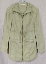 Hollister Abercrombie Womens Olive Hooded Twill Parka Jacket ~ S