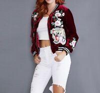 Reversible Bomber Floral Embroidered Jacket TIGER  Sukajan Baseball Coat Outwear