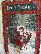 "Tapestry Old World Santa 24"" X 40"" Throw/Chain Cover/Wall Decor-Made In India"