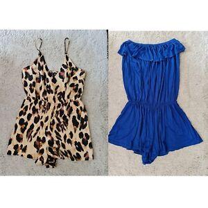 💙 Women's Boohoo Leopard Satin & Blue Playsuit / Romper Size 12 💙