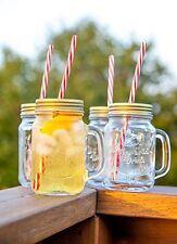 Mason Jar Mugs with Handle, Tin Lid and Plastic Straws. 16 ...New, Free Shipping