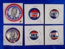 Lot of 6 President Dwight D. Eisenhower Ike Political Pins Pinbacks Buttons