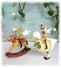 GISELA GRAHAM Christmas vintage fairy angel children SET OF 2 tree decorations