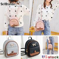 Women Girls PU Leather Backpack School Bag Mini Rucksack  Purse Travel Handbag