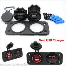 12V Dual USB Charger Socket Red LED Digital Voltmeter For Car Boat Panel Switch