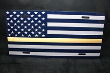 THIN GOLD LINE LINE METAL ALUMINUM LICENSE PLATE AMERICAN FLAG FOR CARS
