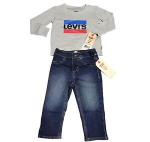 Levis Baby boy's casual stylish & cute Long Sleeve Tee & Jeans Set size 12M  NEW
