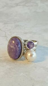 Beautiful Sterling Silver Charoite, Amethyst and Pearl Stacking Ring Set