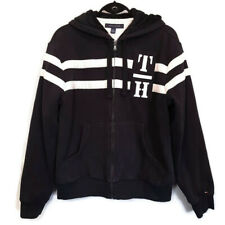 Tommy Hilfiger Striped Hoodie Mens Small Black Beige Fleece Lined Sweater Logo
