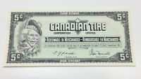 1974 Canadian Tire 5 Five Cents CTC-S4-B-TN Uncirculated Money Banknote E040