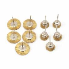 """10Pcs Brass Wire Brush 1"""" Mounted Cup & 1.5"""" Wheel Rotary Tool 1/8"""" Shank"""