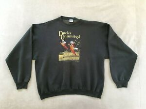 Vintage Ducks Unlimited Mens Embroidered Sweatshirt Marathon Apparel USA SIZE XL