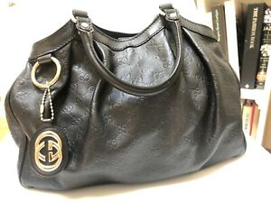 Gucci Bag Sukey Dark Guccissima Medium Black Leather Tote Bag, Excellent!