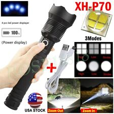 350000 Lumens Zoom XHP70 LED USB Rechargeable Torch Flashlight Super Bright USA
