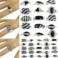 50/100Pcs Wholesale Lots Mixed Fashion Jewelry Crystal Rhinestone Silver Rings