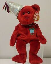 TY Beanie Babies - JULY BIRTHDAY Bear with Hat - NEW - Mint Condition