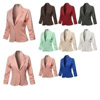 FashionOutfit Women's Casual Solid One Button Classic Blazer Jacket-Made in USA