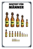 Sehtest Männer Bier Blechschild Schild gewölbt Metal Tin Sign 20 x 30 cm W0430