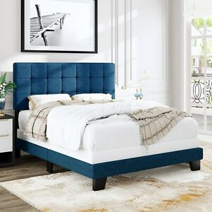 Full/Queen Size Panel Bed Frame with Adjustable High Headboard Fabric