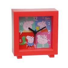PEPPA PIG sveglia quadrata rossa 9,5x9,5 cm a batteria da bambino/a