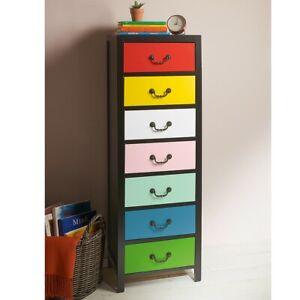 7 Drawer Unit Tallboy Rainbow Multi-Colour Drawer Tall Storage Compact Organiser