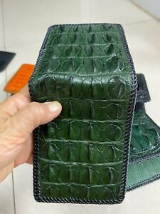 DARK Green  GENUINE, CROCODILE BALLY LEATHER SKIN MEN'S BIFOLD WALLET