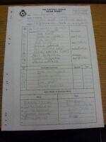 03/01/2000 The Football League Team Sheet: Southend United v Rotherham United (C
