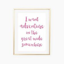 'I Want Adventure' Beauty and The Beast Disney Pink Quote Print