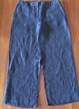 SPORTSCRAFT Angie Dress 100 Pure Linen Indigo Blue Grey Cropped Pants 8