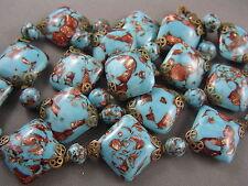STRIKING Antique SQUARE Venetian Murano Aventurine Turquoise Glass Bead Necklace