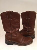 Justin Womens Sz 4 1/2 B US Brown Leather Western Cowboy Boots L3802