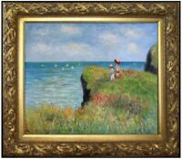 Framed Monet Cliff Walk Pourville Repro, Hand Painted Oil Painting, 20x24in