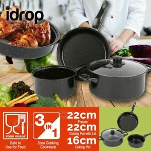 idrop 3 PCS Kitchen Cooking Pot & Fry Pan with Lid Cover Kitchen Cookware Set