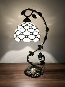 Enjoy Tiffany Style Crystal Bean White Stained Glass Table Lamp W11*H20.5 Inch