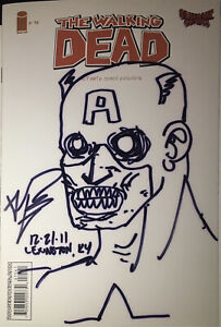 Walking Dead 75 Ultimate Comics Sketch & Signed by Kirkman BOTH SIDES Zombie Cap