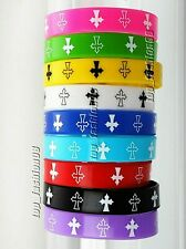 ENGLISH CROSS Printed Multi-color Silicone Wristband Bracelet Stretchable 5 PC