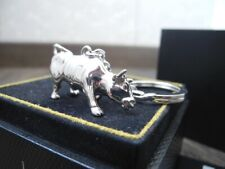 RARE ALFRED DUNHILL LONDON STERLING SILVER BULL 39.4gr KEYCHAIN KEY RING NOS NEW