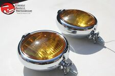 "Amber 5"" Custom Mounted Fog Lights Lamps w Crest Vintage Style Car Truck Hot Rod"