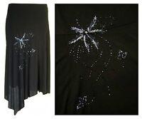 Womens calf length tapered hem Black stretch plus size skirt bead motif design