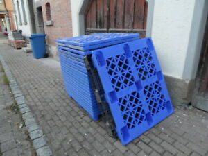 Leichtpalette im Industriemaß LxBxH 1200x1000x140, blau, gebraucht