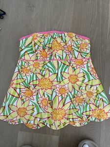 Yellow Floral Lilly Pulitzer Strapless Top UK 8/ US 4